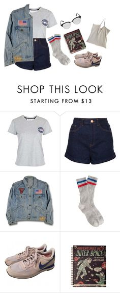 """""""water? on mars?"""" by raevns ❤ liked on Polyvore featuring Tee and Cake, Topshop, J.Crew, NIKE and Garrett Leight"""