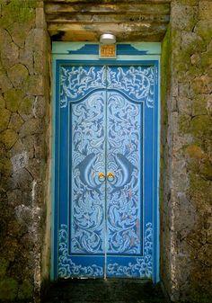 Blue door in Bali, Indonesia Grand Entrance, Entrance Doors, Doorway, Cool Doors, Unique Doors, Door Knockers, Door Knobs, When One Door Closes, Door Gate