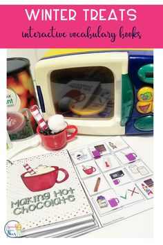 These Interactive Preschool Vocabulary books are designed for teaching vocabulary concepts related to Winter Treats. The interactive books are designed to allow students to match pictures to each page of the book using velcro.