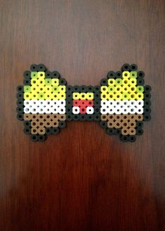 Spongebob Inspired 8 Bit Perler Bow/Bow Tie via eb.perler. Click on the image to see more!