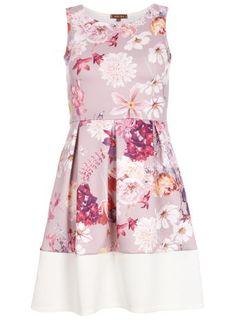 Jolie Moi Lavender Floral Skater Dress