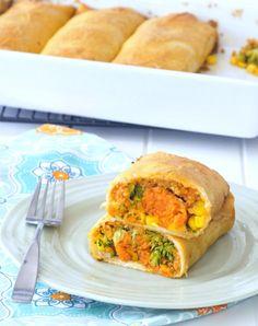 Crispy Sweet Potato Veggie Enchiladas with Chipotle Tomato Cream @spabettie