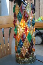 Retro MOD Mid Century Mosaics Rainbow Colorful Lucite Cylinder Table Lamp
