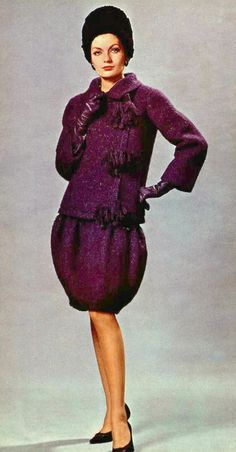 1960 Model in aubergine wool dress and jacket by Christian Dior (YSL)