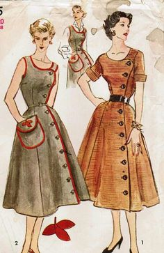 Retro Sewing vogue and butterick are making vintage patterns again.divine by JustineTime Robes Vintage, Vintage Dresses, Vintage Outfits, Vintage Apron, Moda Vintage, Etsy Vintage, Vintage Dress Patterns, Clothing Patterns, 1950s Fashion