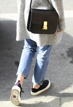 easy. straight leg jeans, black sneakers, gray wool coat, black cross body leather bag