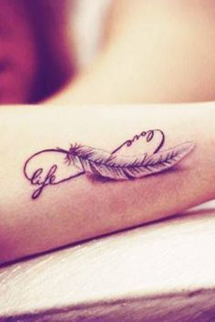 These are the one of the best Infinity Tattoo Designs on the net which is taken from another websites.if any one going to infinity tattooed on your body then they can consider these infinity tattoo designs. Must share and must like these tattoos. Feather Tattoo Arm, Infinity Tattoo With Feather, Infinity Tattoo Designs, Feather Tattoo Design, Infinity Symbol, Tattoo Infinity, Eternity Tattoo, Feather Sketch, Colored Feather Tattoos