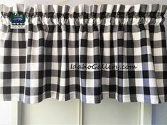 Black and white 1 inch Buffalo Check Gingham kitchen curtain - curtains- Farmhouse Kitchen Curtains, Country Kitchen Farmhouse, Rustic Kitchen, Kitchen Ideas, Kitchen White, Kitchen Decor, Farmhouse Decor, Buffalo Check Curtains, Cafe Rod