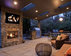 porch with TV and skylights
