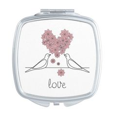 Pink Flower Heart Love Birds Rustic Modern Mirror For Makeup (£14) ❤ liked on Polyvore featuring beauty products and makeup
