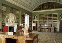 The Library at Stourhead. The chimneypiece and overmantel were added in but apart from that it very much reflects the Regency taste of Sir Richard Colt Hoare. Library Fireplace, Green Library, Home Libraries, Study Office, English Style, Model Homes, Regency, Windsor, Interior Decorating