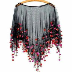 It's Raining Roses Fringe Beaded Sheer Poncho // Boho Romance in Coachella Tiny Rosettes Cape - moda Beaded Fringe Shirt, Stylish Dresses, Fashion Dresses, Beaded Cape, Poncho Coat, Cape Coat, Designs For Dresses, Cape Dress, Indian Designer Wear