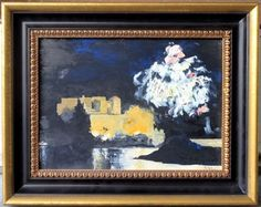 Impressionist-Oil-Painting-by-Simon-Luciani-034-Fireworks-at-Capri-034-Italy-Framed
