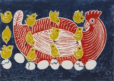 design illustration graphics Edward Bawden, Easter design for Fortnum and Mason, 1958 (linocut) Easter Illustration, Book Illustration, Fortnum And Mason, Chicken Art, Chickens And Roosters, Linocut Prints, Gravure, Online Art Gallery, Printmaking