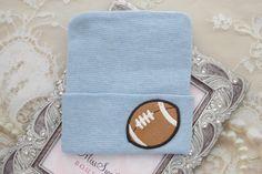 A personal favorite from my Etsy shop https://www.etsy.com/listing/515150174/boys-football-newborn-hospital-hat