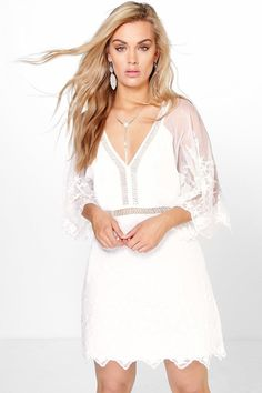 Plus Skye Boutique All Over Crochet Wide Sleeve Dress
