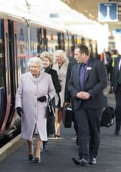 The Queen was escorted to her carriage by palace officials and rail officers at King's Lynn railway station in Norfolk on February 9th.
