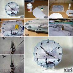 How To Make Clock Decoupage step by step DIY tutorial...