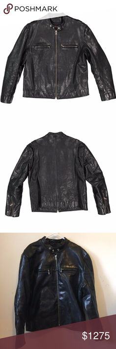 Jean Shop NYC Classic Black Leather Jacket XXL Classic men's motorcycle jacket in a tough, heavyweight cowhide from the renowned Jean Shop in NYC.  Cowhide outer with polyester quilted lining. Riri zippers throughout. Top quality jacket that was only worn once so is in excellent condition. Size XXL. Originally purchased for $2500. Jean Shop Jackets & Coats