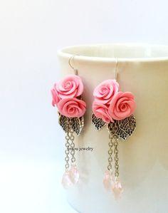 Pink Roses Pink Earrings Flower Earrings Roses Jewelry Pink Jewelry Flower…