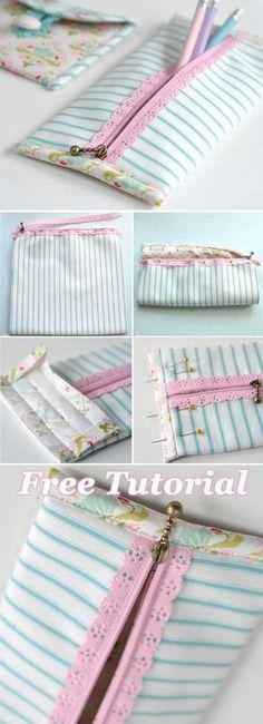 69 Trendy ideas for sewing pouch diy pencil cases Diy Crafts Pencil Case, Diy Pencil Case, Diy And Crafts Sewing, Sewing Patterns Free, Sewing Tutorials, Sewing Projects, Kids Patterns, Pattern Sewing, Pants Pattern