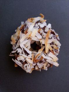 Mini Chocolate-Covered Coconut Doughnuts...so good!