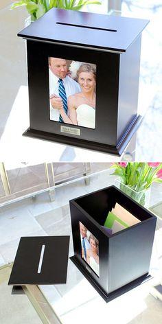Photo Wedding Card Holder - 19 Wedding Gift Card Box Ideas. See more at http://blog.myweddingreceptionideas.com/2016/01/19-wedding-gift-card-box-ideas.html