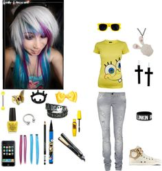 """all most yellow scene girl :D"" by nasialove ❤ liked on Polyvore"