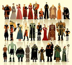 A Stylized Illustration Of 30 'Game Of Thrones' Characters by Betteo Game Of Thrones Illustrations, Game Of Thrones Artwork, Game Of Thrones Fans, Character Design References, Game Character, Character Concept, Concept Art, Design Page, Design Ideas