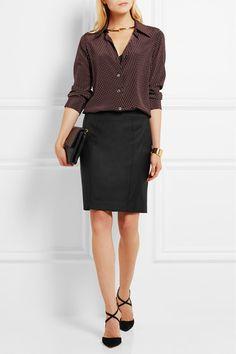 78df7cab66 Black wool-twill Concealed zip fastening along side 100% wool  lining  68