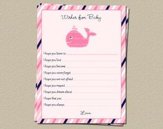 Baby Wishes Cards in Whale Girl Nautical Theme for Baby Showers, Set of 25 Cards, Free Shipping on Etsy, $15.00