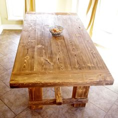 Items similar to Rustic Pine Farmhouse Table - Restoration Hardware Style Farmhouse Table on Etsy Farmhouse Table With Bench, Rustic Table, Furniture Styles, Home Furniture, Rustic Pine Furniture, Style At Home, Dining Table, Dining Room, Kitchen Tables