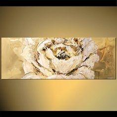 White Flower Painting Large Blossom Painting by OsnatFineArt