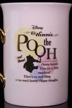 Disney Winnie the Pooh Mug. Hoo!  Hoo!  Hunny heaven!  Time for a little samackerel... There's no such thing as too much hunny!  Happy thoughts.  Porcelain mug stands 4 inches and is 2 1/2 inches across. Comes packed in gold embossed gift box.