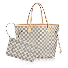 Neverfull MM Damier Azur Canvas ($1,260) ❤ liked on Polyvore featuring bags, handbags, tote bags, handbags totes, white canvas tote bags, tote purses, tote handbags and canvas tote