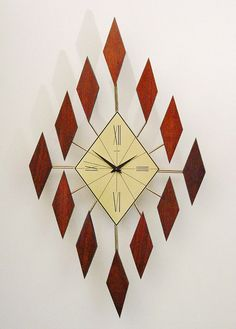 Mid Century Modern Starburst Clock of Diamonds. by ClubModerne