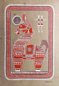 ARTIST- MANAS KUMAR DAS Phad Painting, Worli Painting, Fabric Painting, Bengali Art, Rajasthani Art, Madhubani Art, Madhubani Painting, Indian Art Paintings, Wall Paintings