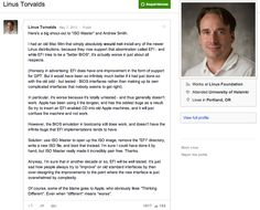 """Linus Torvalds: """"While EFI tries to be a """"better BIOS"""", it's actually worse in just about all respects"""""""