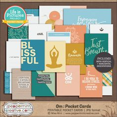 LIP: Om Pocket Cards - Yoga, Meditation, Balance, Zen #digiscrap #pocketcard