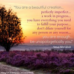 """You are a beautiful creation... perfectly imperfect... a work in progress... you have everything you need to fulfill your purpose... don't dilute yourself for any person or any reason... you are enough... be unapologetically you."" - Steve Maraboli #quote"