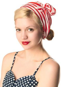 Bow to Stern Scarf in Crimson Stripes, #ModCloth