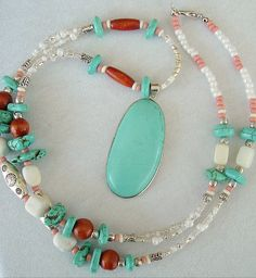 Boho Turquoise Necklace Statement Necklace Multi by BohoStyleMe