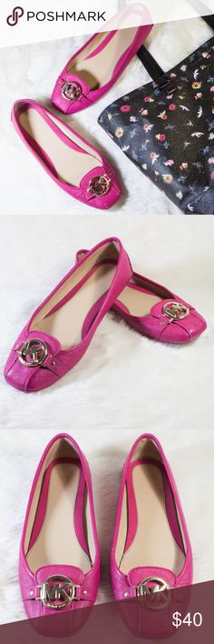 Michael Kors Fulton MK Buckle Moccasin Flats Pretty in ultra-pink!  Classic, contemporary, cult-worthy—this MICHEAL Michael Kors Fulton moccasin is a true favorite!  Ideal for cross-town errands and city commutes.  Pre-loved and in good condition!  Brand name on the insoles has faded.  Exterior shows signs of wear.  Tiny ink mark on right shoe.  Offers welcome.  Thanks for looking and Happy Poshing!!! MICHAEL Michael Kors Shoes Flats & Loafers