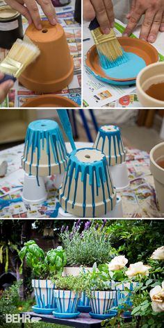 Painted Pot Herb Garden Garden Crafts Painted Flower Pots Crafts 25 Diy Painted Flower Pot Ideas You Ll Love Terracotta Flower 25 Diy Garden Pots That Add Decor To Your…Read more of Painting Plant Pots Outdoor Pots D'argile, Herb Pots, Garden Pots, Garden Club, Garden Bed, Vegetable Garden, Herbs Garden, Blue Garden, Planting Vegetables