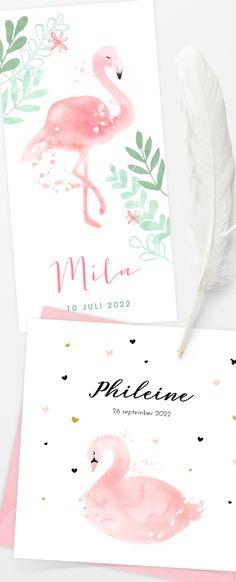 Prachtige geboortekaartjes voor je meisje met tropsiche flamingo en lieve zwaan. Announcement Cards, Birth Announcements, Flamingo, Place Cards, Place Card Holders, 2 Girl, Babys, Events, Ideas