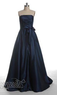 Dark Navy Blue Long Satin Bridesmaid Dress DVW0123   VPonsale Wedding Custom Dresses Only 109 pounds!