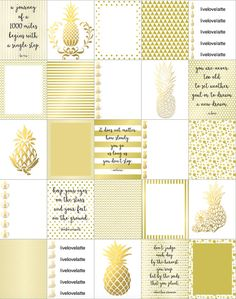 GOLD CHAMPAGNE PINEAPPLES Erin Condren Vertical by LiveLoveLatte