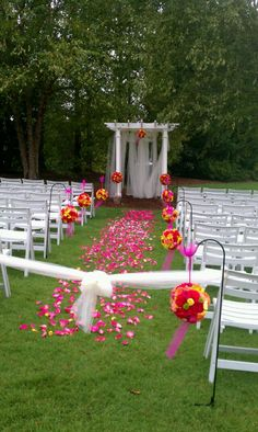 Not our colors but some cool ideas here. Like the small buckets on the chairs better than these balls.  Keywords: #outdoordestinationweddings #jevelweddingplanning Follow Us: www.jevelweddingplanning.com  www.facebook.com/jevelweddingplanning/