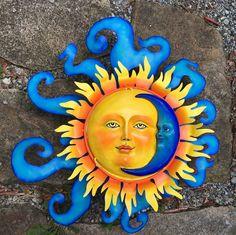 Metal Crafted Sun and Moon - Garden Sun - Celestial Wall Art - Handcrafted Sun and Moon Sun Moon Stars, Sun And Stars, Moon Garden, Garden Art, Moon Painting, Sun Art, Mexican Art, Mexican Garden, Mexican Crafts