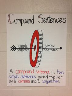 Compound Sentences Anchor Chart for Grade ELA Classroom by carrie Sentence Anchor Chart, Grammar Anchor Charts, Writing Anchor Charts, Sentence Writing, 8th Grade Ela, 3rd Grade Writing, Fourth Grade, Grade 3, Third Grade